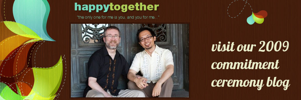 Visit our commitment ceremony blog, Happy Together